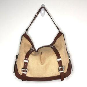 Etienne Collection Privee Jute handbag brown trim.